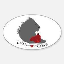 Twilight LION LAMB on White Oval Decal