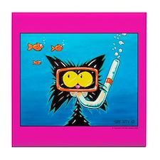 Snorkling cat lover Tile Coaster