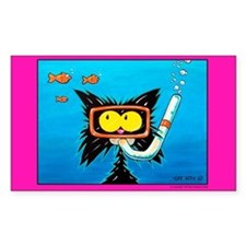 Snorkling cat lover Rectangle Decal