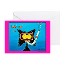 Snorkling cat lover Greeting Cards (Pk of 10)