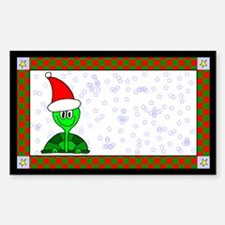Christmas Tortoise Label Rectangle Decal