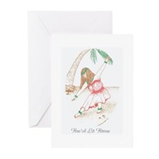 Hawaiian Hula Girl Birthday Greeting Cards (Pk of