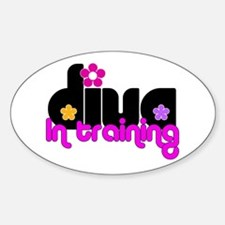 Diva in training (flowers) Oval Decal