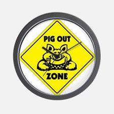 Pig Out Zone Wall Clock