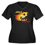 Jesus Saves Women's Plus Size V-Neck Dark T-Shirt