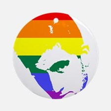 Gay Pride Face Ornament (Round)