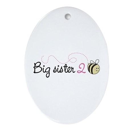 Big Sister to Bee Oval Ornament