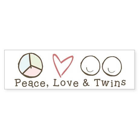 Peace Love & Twins - Bumper Sticker
