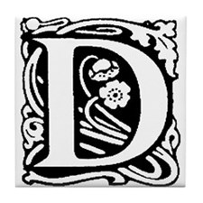 Art Nouveau alphabet tile Tile Coaster