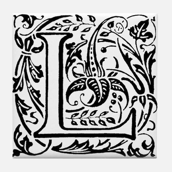 Art Nouveau alphabet tile Tile Coaster