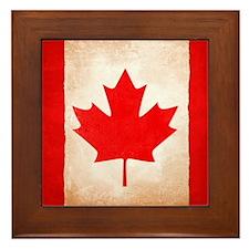 Weathered Maple Leaf Design Framed Tile