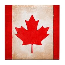 Weathered Maple Leaf Design Tile Coaster
