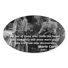 Nobel Philosophy Marie Curie Oval Decal