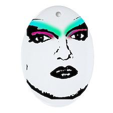 Drag Queen Stencil Oval Ornament