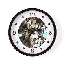 Alaskan Malamute group Wall Clock