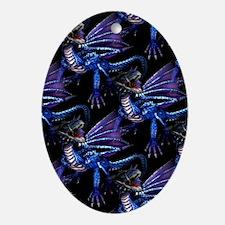 Blue Dragon At Night Oval Ornament