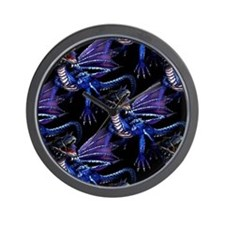 Blue Dragon At Night Wall Clock