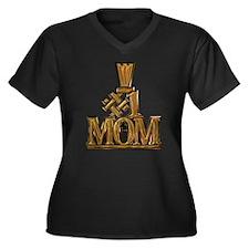 #1 Mom Women's Plus Size V-Neck Dark T-Shirt