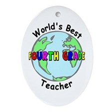 Fourth Grade Teacher Oval Ornament