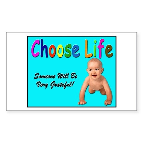 Choose Life for Pro Life Rectangle Sticker