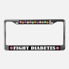 Colorful Fight Diabetes License Plate Frame
