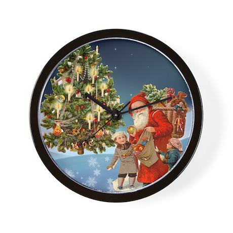 Christmas Tree and Santa Wall Clock