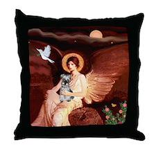 Angel / Min Schnauzer Throw Pillow