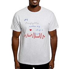 Firefighter Heart Beat T-Shirt