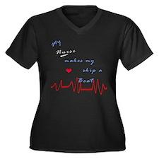 Nurse Heart Beat Women's Plus Size V-Neck Dark T-S
