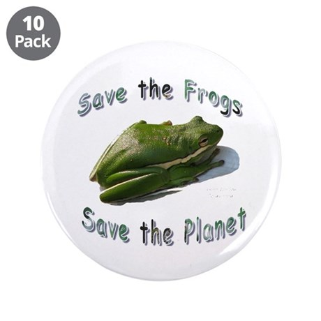 """Save Green Treefrog 3.5"""" Button (10 pack)"""