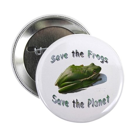 """Save Green Treefrog 2.25"""" Button (10 pack)"""