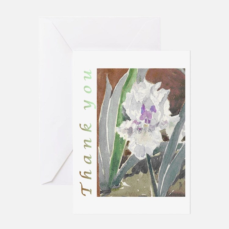 White Iris Thank You Card