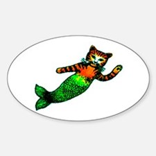 MERMAID KITTY Oval Decal