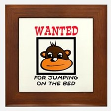 WANTED: JUMPING ON THE BED Framed Tile