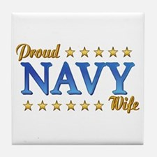 Proud Navy Wife Tile Coaster