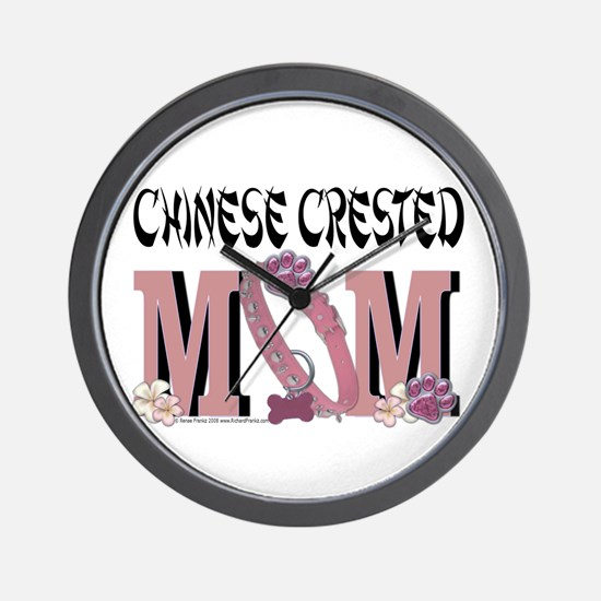 Chinese Crested Mom Wall Clock