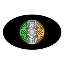 Celtic Shield Knot with Irish Flag Oval Bumper Stickers
