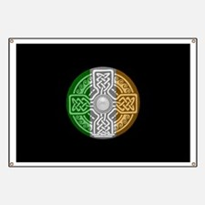 Celtic Shield Knot with Irish Flag Banner
