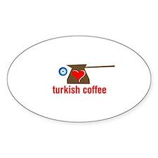 eye heart turkish coffee Oval Decal