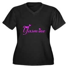 Yasmine Women's Plus Size V-Neck Dark T-Shirt
