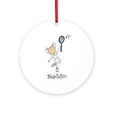 Girl's Badminton Ornament (Round)