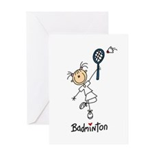 Girl's Badminton Greeting Card