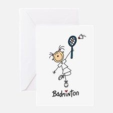 Girl's Badminton Greeting Card
