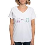 S&O Left/Right Mauve/Lime Women's V-Neck T-Shirt