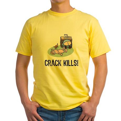 Crack kills! funny Yellow T-Shirt