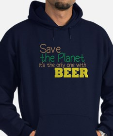 Only Planet with Beer Hoodie (dark)