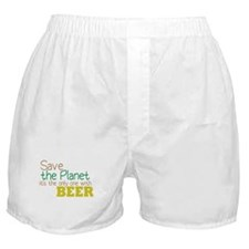 Only Planet with Beer Boxer Shorts