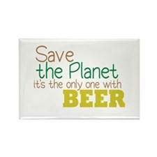Only Planet with Beer Rectangle Magnet
