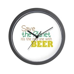 Only Planet with Beer Wall Clock