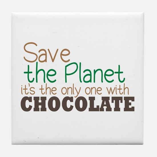 Only Planet with Chocolate Tile Coaster
